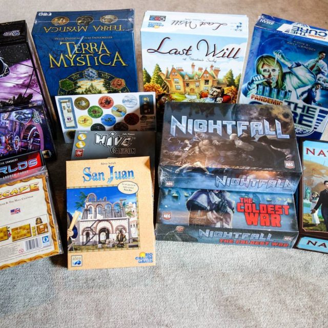 Our haul from the BGG Gen Con 2016 Math Trade